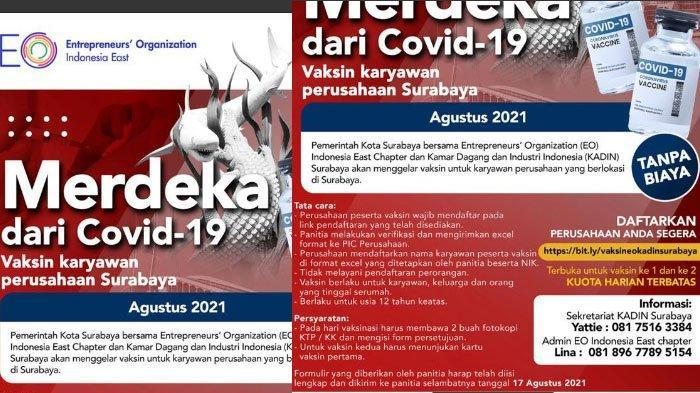 EO Indonesia - Kadin Surabaya Gelar Vaksinasi untuk Pelaku Usaha, Targetkan 50.000 Peserta Per Hari