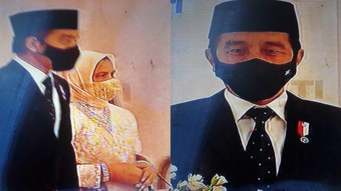 Presiden Joko Widodo dan istri Iriana Widodo di acara akad nikah Aurel dan Atta