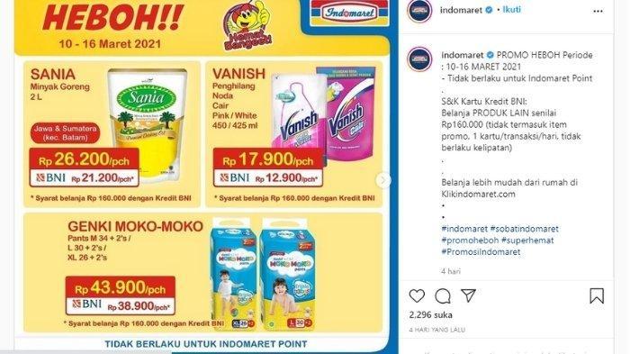 Promo Indomaret Hari Senin 15 Maret 2021, Minyak Goreng 2L Hingga Produk-Produk Sarapan