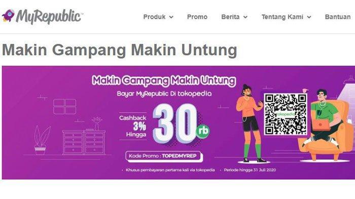 Promo Internet MyRepublic Ada Cashback hingga Rp 30 Ribu Saat Bayar via Tokopedia, Begini Caranya