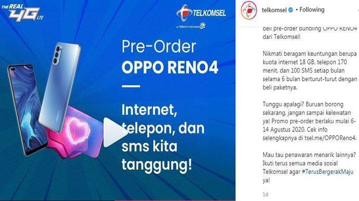 Cara Beli Kuota Internet Murah Telkomsel 11 GB Cuma Rp 45 Ribu, Promo Paket Bundling Oppo Reno4