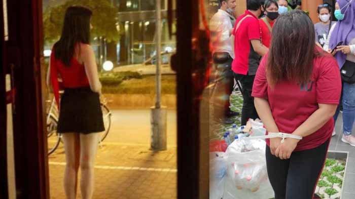 Ilustrasi PSK remaja. Foto kanan : mami BY selaku muncikari prostitusi online remaja di Blitar saat hendak dibawa ke sel tahanan Polres Blitar Kota, Rabu (7/4/2021).
