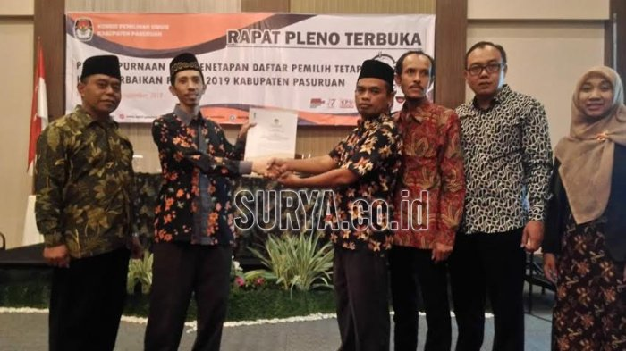 Rapat Pleno Terbuka, KPU Kabupaten Pasuruan Coret 2.232 DPT Ganda