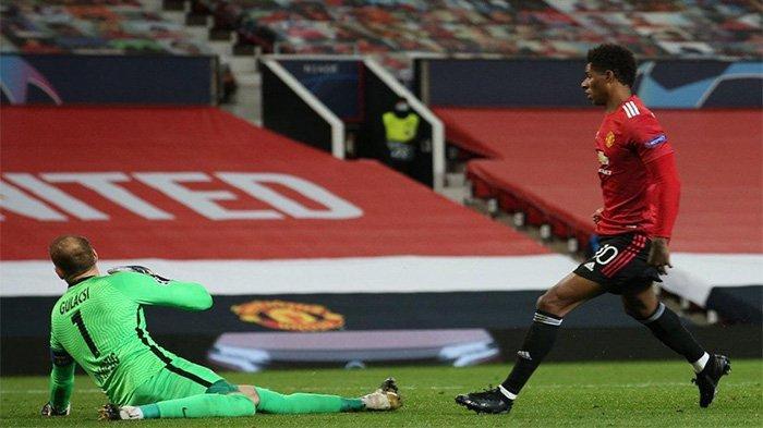 Marcus Rashford berhasil mencetak Hattrick saat setan merah melawan RB Leipzig di Liga Champions, Kamis (29/10/2020).