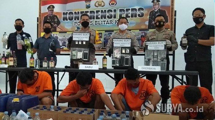 Polisi Tangkap 7 Pengedar Narkoba dan Sita Ratusan Botol Miras di Blitar