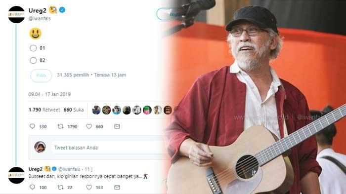 Respon Iwan Fals saat Buka Polling di Twitter Usai Debat Capres 2019, 'Kalau Gini Aja Cepet Banget'