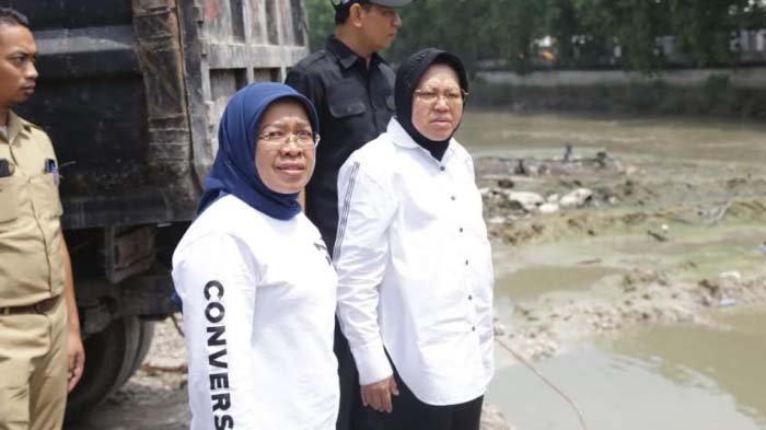 Ingin Pastikan Surabaya Terbebas Dari Banjir, Risma Tinjau Rumah Pompa