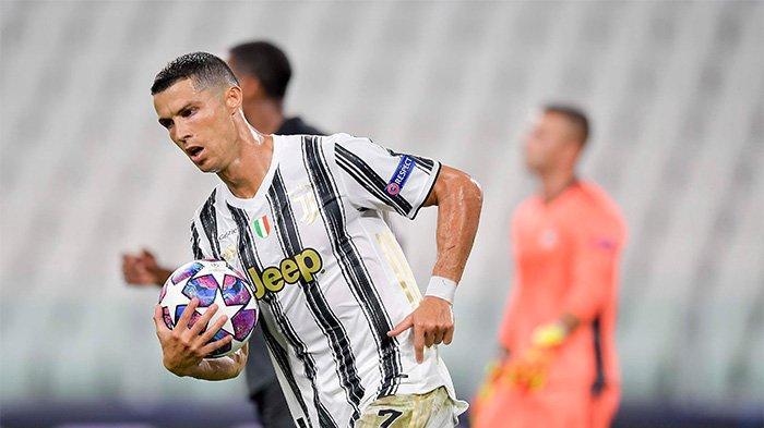 Ronaldo saat laga melawan Lyon di Liga Champions, Sabtu (8/8/2020)