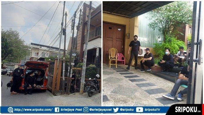 Rumah anak alm Akidi Tio, Heriyanti  di Jalann Tugu Mulyo IT Palembang dijaga ektra-ketat oleh polisi Polda Sumsel, Selasa (3/8/2021).