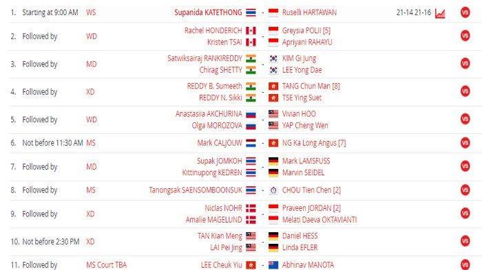 SEDANG BERLANGSUNG Live Streaming Badminton Thailand Open 2021 di TVRI, 7 Wakil Indonesia Bertanding