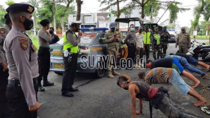 Nongkrong Tak Pakai Masker, Sejumlah Pemuda Kota Blitar Dihukum Push Up