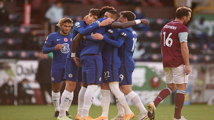 Selebrasi pemain Chelsea saat merayakan gol Hakim Ziyech