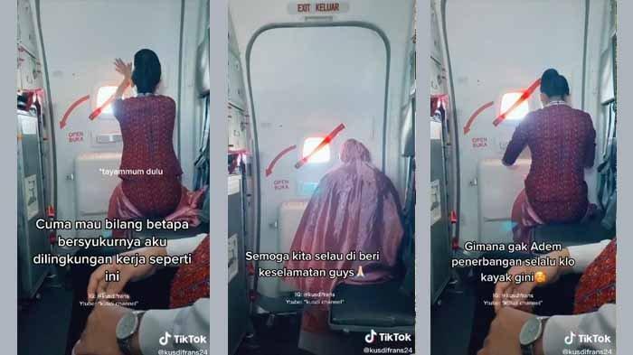 Pramugari Sholat di Pesawat, Videonya Viral dan Bikin Haru Netizen, Inilah Sosok Pengunggahnya