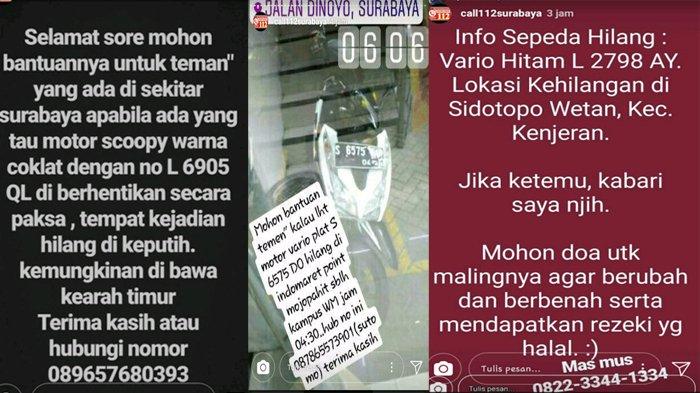 Kejadian Sepeda Motor Hilang Mendominasi Laporan Ke Instagram Command Center 112 Surabaya Surya