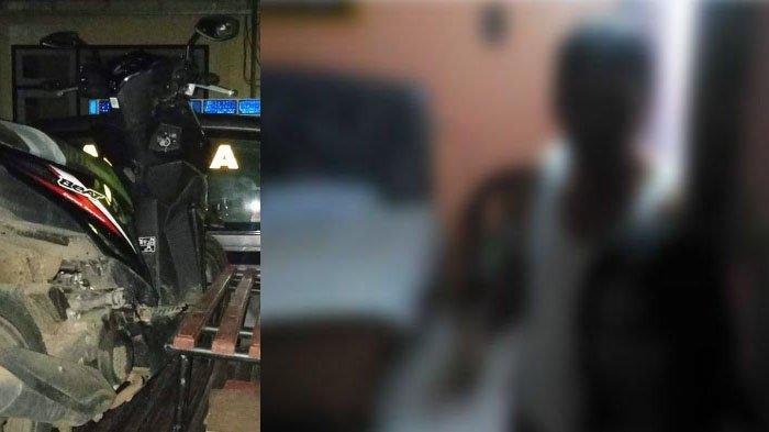 Sepeda motor Kades Mkd diangkut mobil polisi (kiri) dan ilustrasi penggerebekan pasangan bukan suami istri (kanan) (Foto Istimewa)