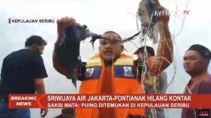 Serpihan diduga pesawat Sriwijaya Air SJ 182 yang diduga jatuh di Kepulauan Seribu