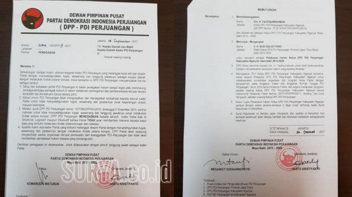 Surat pemecatan Bupati Nganjuk, Taufiqurrahman, dari jabatannya sebagai Ketua DPC PDI Perjuangan Nganjuk yang dikeluarkan 26 Januari lalu.