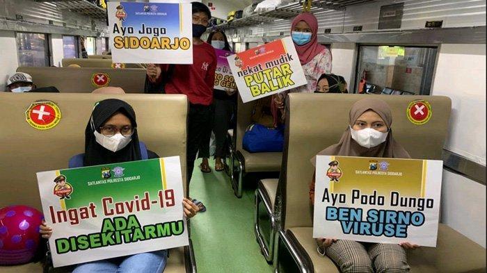 Larangan Mudik Dimajukan, Polresta Sidoarjo Langsung Geber Sosialisasi di Stasiun KA