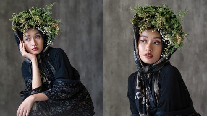 Inspirasi Styling High Fashion, Santun dan Unik dengan Riasan Flawless dan Bunga Warna Hijau