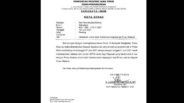 ASN Dishub Jatim Diimbau WFH dan Tak Tugas Dinas ke Madura hingga 21 Juni 2021
