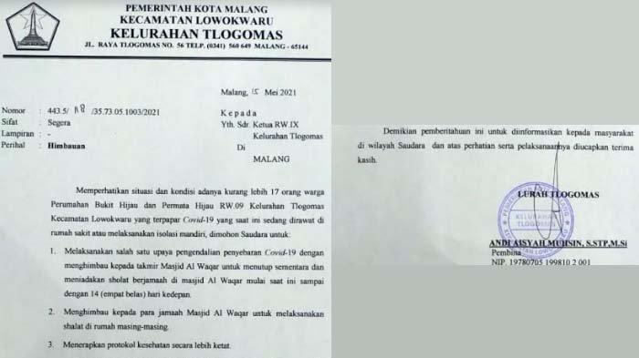 Imbauan Lurah di Kota Malang yang Viral di Medsos setelah 17 Warganya Terpapar Covid-19