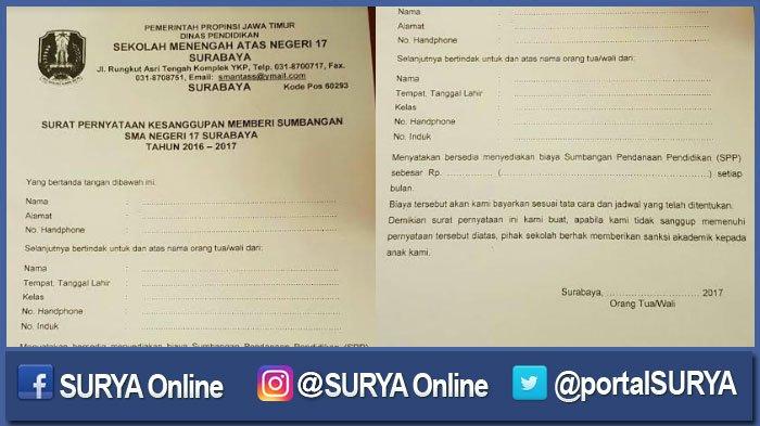 Sman 17 Surabaya Memang Bikin Surat Memuat Ancaman Jika Tak Bayar Spp Surya