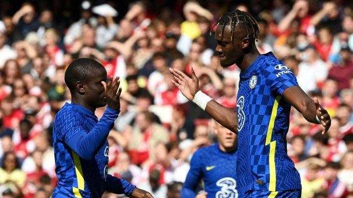 Tammy Abraham saat berhasil mencetak gol lawan Arsenal