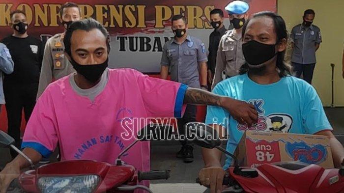 Tampang pelaku begal payudara di Kabupaten Tuban (kiri). Ngaku sudah beraksi lima kali.