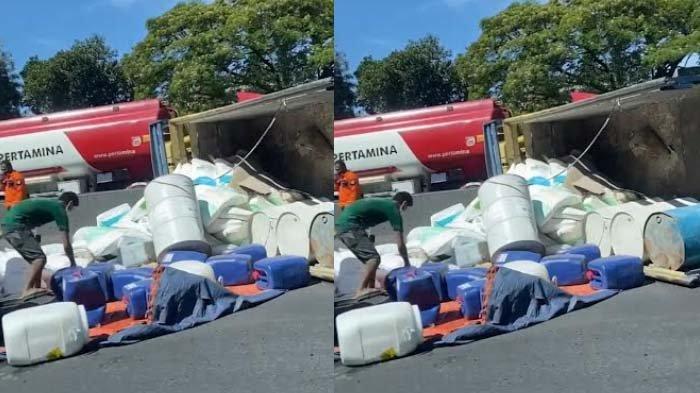 PenyebabTruk Muat Cairan Kimia Terguling di Tol Waru Sidoarjo KM 8 200/B
