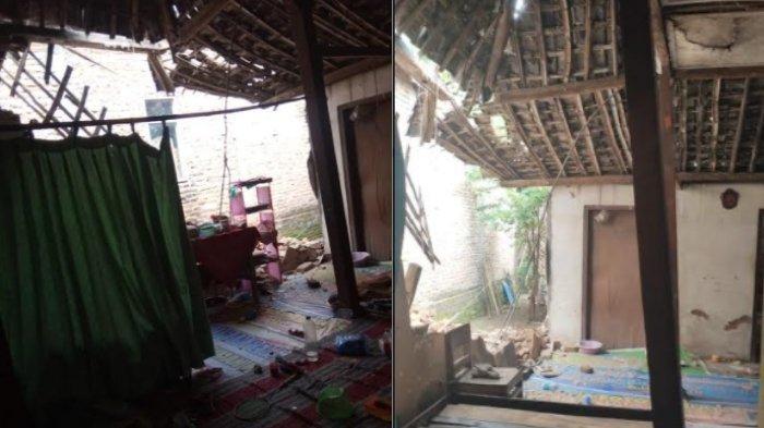 Tembok Rumah Milik Hadi Purnomo di Jalan Gadung Melati, Desa Siman, Kecamatan Siman, Ponorogo Roboh Akibat Gempa Bumi yang Mengguncang Ponorogo, Sabtu (10/4/2021).