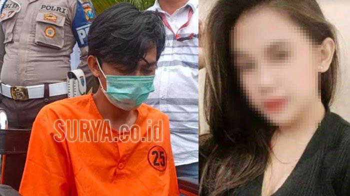 Tersangka Refi Purnomo (kiri), pelaku pembunuhan M (kanan), cewek Bandung yang terlibat prostitusi online di Hotel Lotus Kota Kediri.