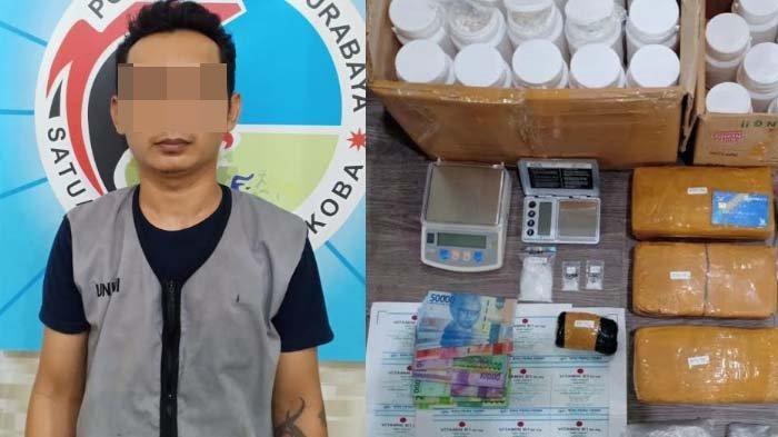 Polisi Surabaya Bekuk Kurir Sabu Jaringan Lapas di Jatim, Ditemukan Sabu, Ganja, dan Obat Keras