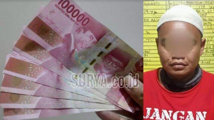 Tersangka Yudi Sunarto (kanan) dan ilustrasi uang. (Foto Istimewa dan surya.co.id/m sudarsono)