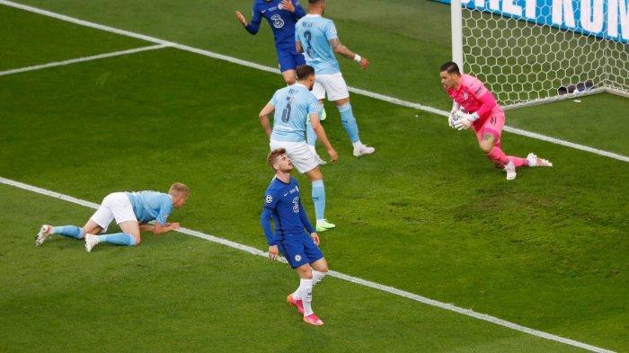 Timo Werner gagal cetak gol di pertandingan Man City vs Chelsea