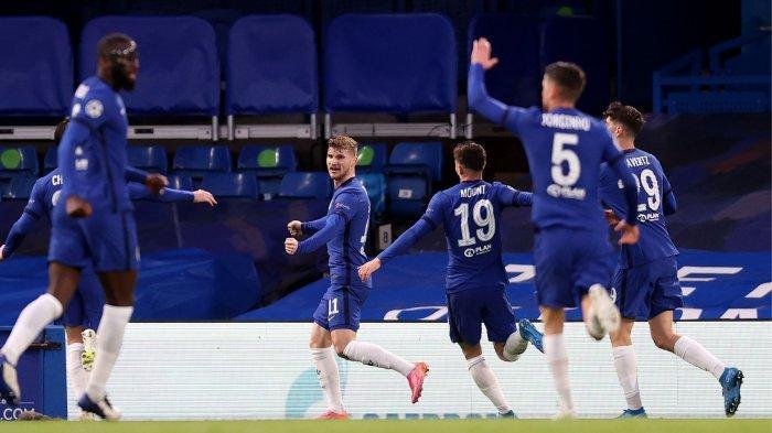 Timo Werner Mencetak Gol Keunggulan Sementara Chelsea atas Real Madrid di babak pertama pada Leg 2 Semifinal Liga Champions, Kamis (6/5/2021) dini hari