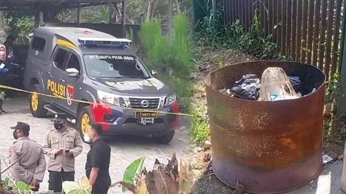 Polisi sedang memeriksa TKP penemuan jasad Amalia dan Tuti di Subang. Foto kanan : tong sampah tempat wanita misterius membuang benda.