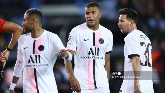 Trio Messi Neymar dan Mbappe saat laga Brugge vs PSG
