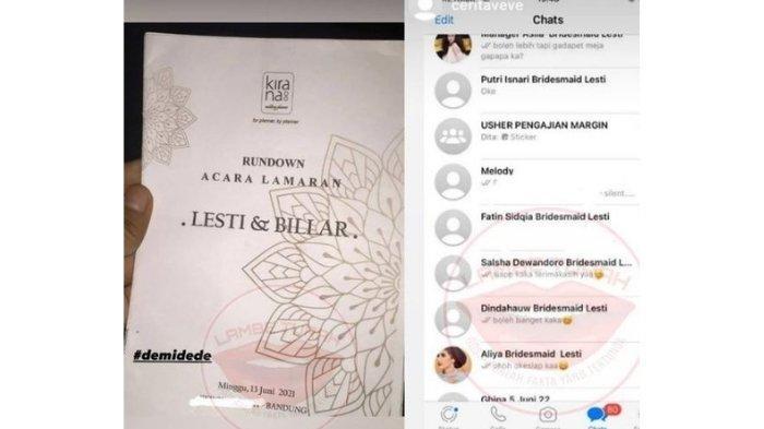 undangan lamaran Lesti Kejora dan Rizky Billar