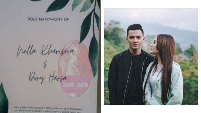 Undangan pernikahan Nella Kharisma dan Dory Harsa yang beredar di media sosial