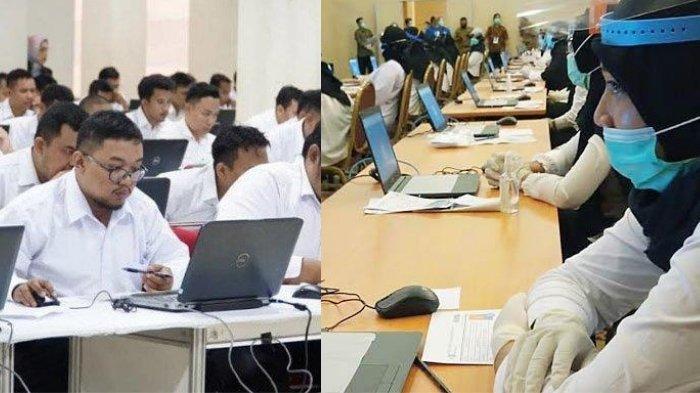 Sejumlah peserta mengikuti tes SKD CPNS Kota Blitar di Simpang Lima Gumul, Kabupaten Kediri, beberapa waktu lalu (kiri). Tes CPNS Kabupaten Tulungagung formasi 2019 (kanan)
