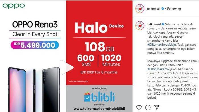 UPDATE Promo Telkomsel Hari ini, Paket Internet Murah 108 GB Cuma Rp 100 Ribu dengan Beli Oppo Reno3