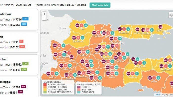 update virus corona ( COVID-19) di Jawa Timur, Jumat (30/4/2021)