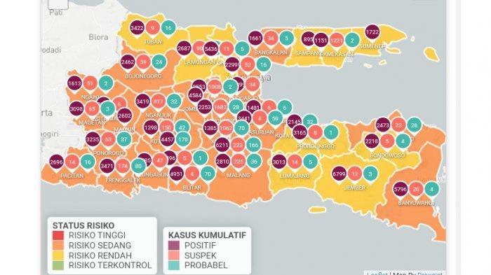 Peta Covid-19 di Jatim Jumat (9/4/2021)