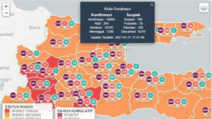 Update Virus Corona di Surabaya 1 Februari 2021 Pasien Sembuh Naik 61, Pelanggar PPKM Langsung Denda
