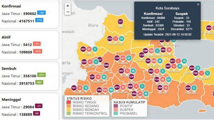 Update Virus Corona di Surabaya 13 September: Covid-19 Naik 22 dan Daftar Wilayah Zona Kuning Jatim