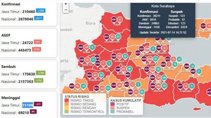Update Virus Corona di Surabaya 15 Juli: Kasus Covid-19 Naik 1778 dan Hoax Perpanjangan PPKM Darurat
