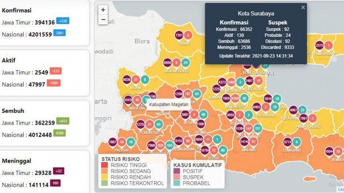 Update Virus Corona di Surabaya 24 September: Covid-19 Naik 16 dan Aturan Baru WFH-WFO Selama PPKM