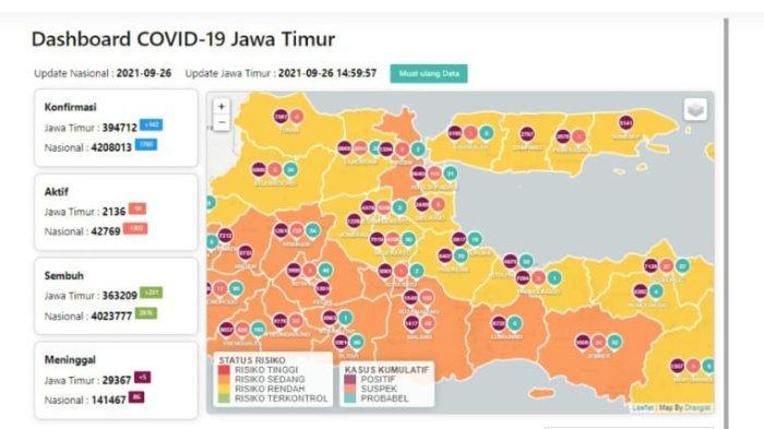 Update Virus Corona di Surabaya 26 September 2021: Tambah 12, 25 Kabupaten di Jatim Status Level 1