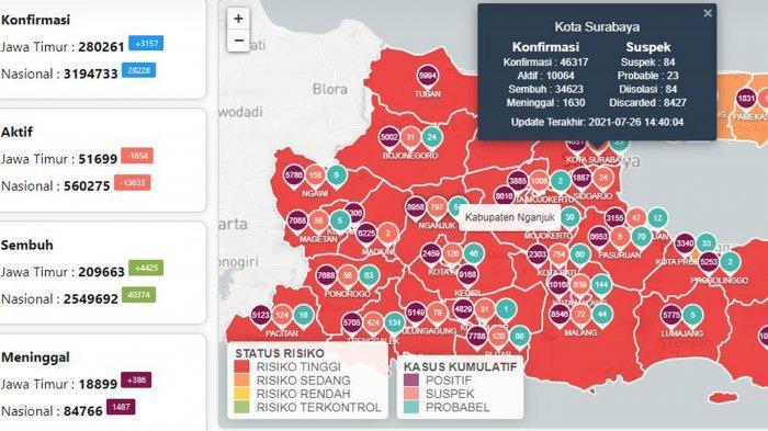 Update Virus Corona di Surabaya 27 Juli: Covid-19 Naik 830 dan Jam Buka Mal Selama PPKM Level 4