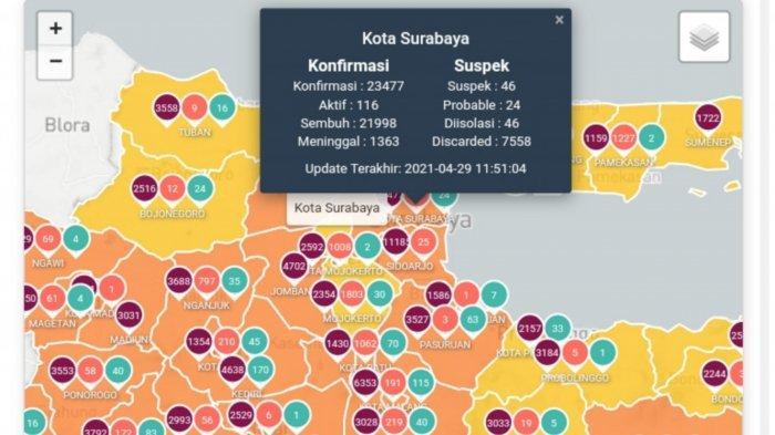 Update Virus Corona di Surabaya 30 April 2021: Naik 19, Daftar 7 Titik Penyekatan di Jatim